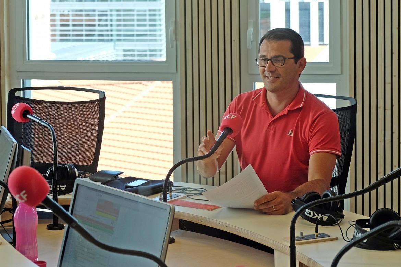 Le Charlyrot Jean POULY en enregistrement à RCF, au campus Saint-Paul de l'Université Catholique de Lyon (UCLy) à Confluence